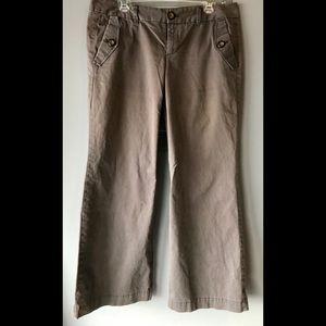 Gap hip slung/flared leg stretch trousers